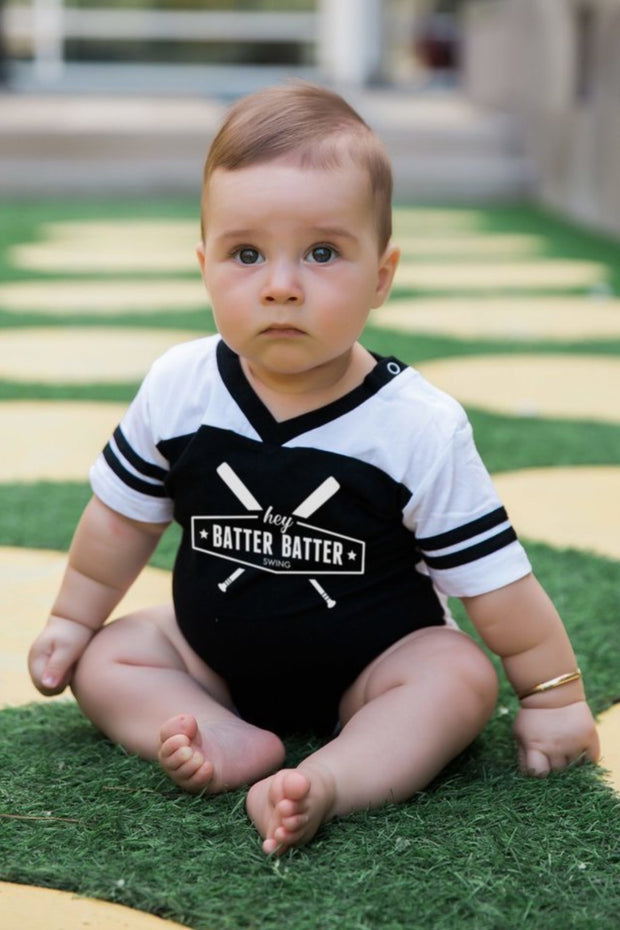 Hey Batter Batter Black Jersey Bodysuit