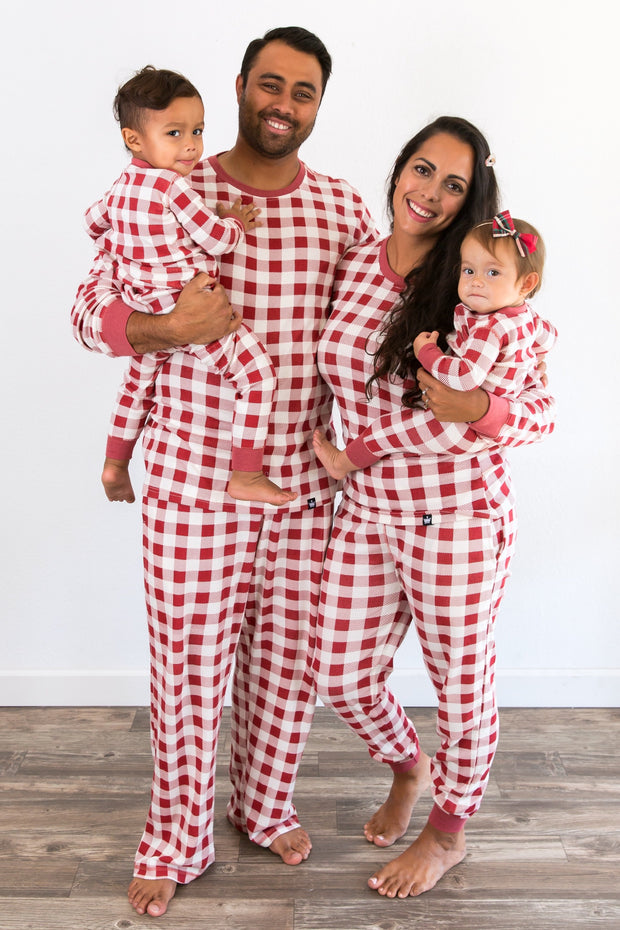 Red & Cream Buffalo Matching Family Pajamas