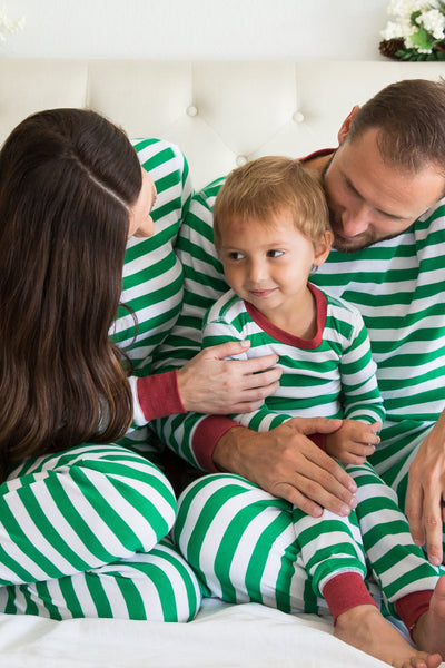 Green & White Stripe Matching Family Pajamas