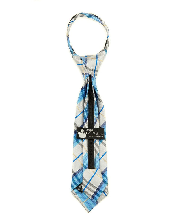 Mist and Sky Plaid Zipper Tie (Boys and Men)