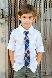Pumpkin and Navy Plaid Zipper Tie (Boys and Men)
