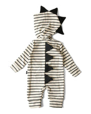 Beige & Charcoal Stripe Zip Up Dino Sweatshirt Hoodie Romper