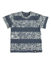 Navy & Cream Tropical Print Tee