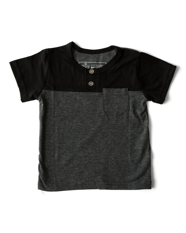 Black & Charcoal Color Block Henley Tee