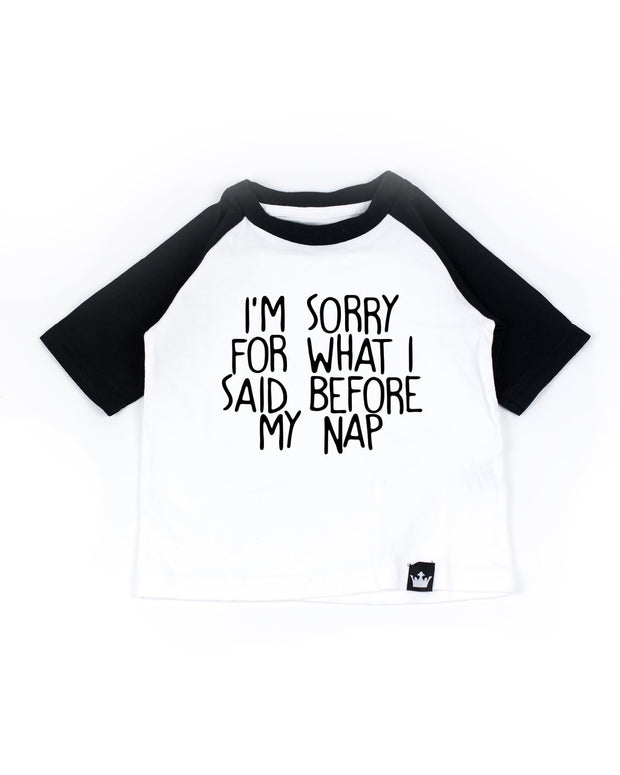 Before My Nap Black Half Sleeve Raglan Tee