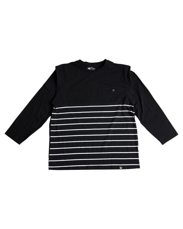 Thick Black Stripe Men's Color Block Body Accent Shirt