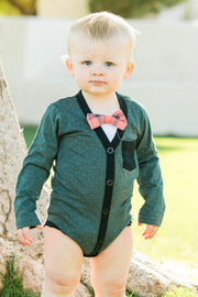 Long Sleeve Cardigan Bodysuit with Bow Ties