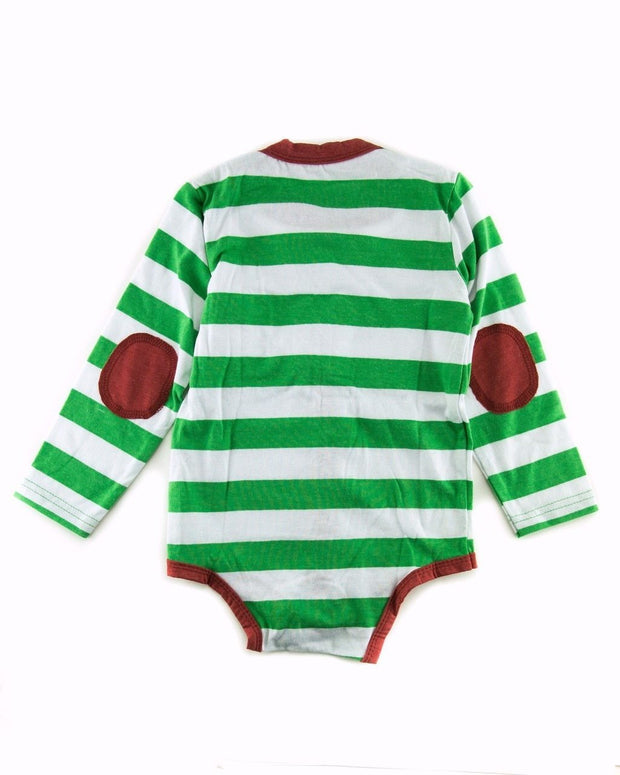 Green & White Stripe Long Sleeve Cardigan Bodysuit