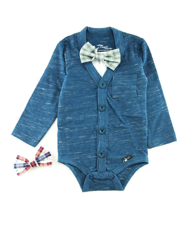 Navy Slub Knit Long Sleeve Cardigan Bodysuit