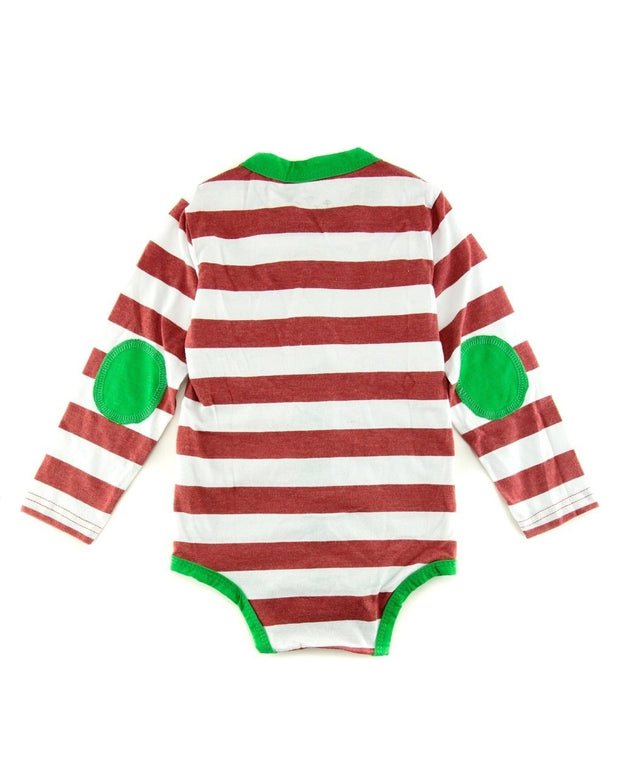 Red & White Stripe Long Sleeve Cardigan Bodysuit