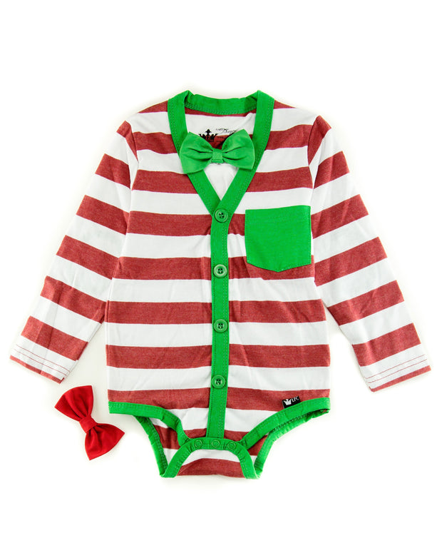Holiday Long Sleeve Cardigan Bodysuit