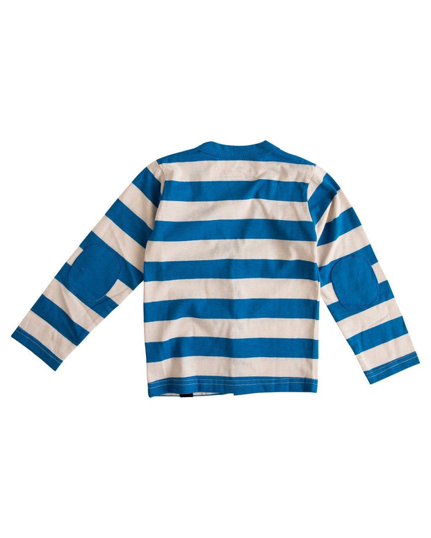 Oatmeal & Blue Stripe Long Sleeve Cardigan Shirt
