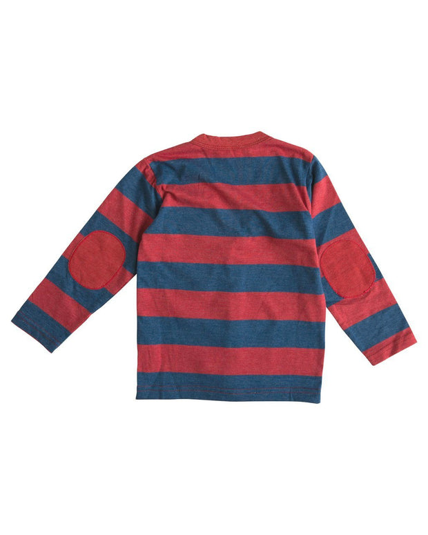 Red & Navy Stripe Long Sleeve Cardigan Shirt