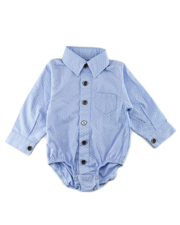 Blue Dots Long Sleeve Dress Shirt Bodysuit
