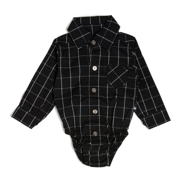 Black Windowpane Long Sleeve Dress Shirt Bodysuit