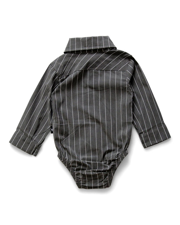 Charcoal & White Pinstripe Long Sleeve Dress Shirt Bodysuit