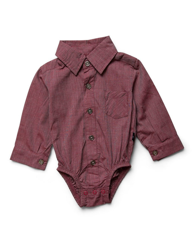 Garnet Long Sleeve Dress Shirt Bodysuit