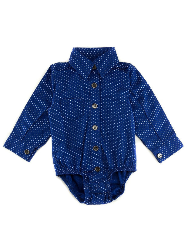 Navy Dots Long Sleeve Dress Shirt Bodysuit