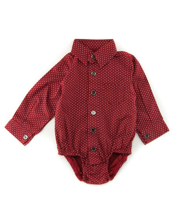 Red Dots Long Sleeve Dress Shirt Bodysuit