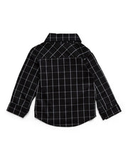 Black Windowpane Long Sleeve Dress Shirt