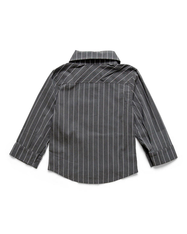 Charcoal & White Pinstripe Long Sleeve Dress Shirt