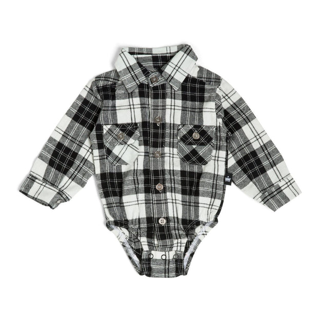 Black & White Plaid Flannel Button Up Bodysuit