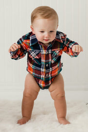 Coral & Teal Plaid Flannel Button Up Bodysuit
