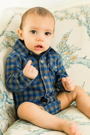 Navy & Gray Buffalo Check Flannel Button Up Bodysuit