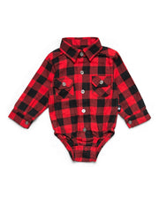 Red & Black Buffalo Check Flannel Button Up Bodysuit