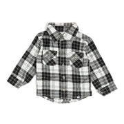 Black & White Plaid Flannel Button Up Shirt