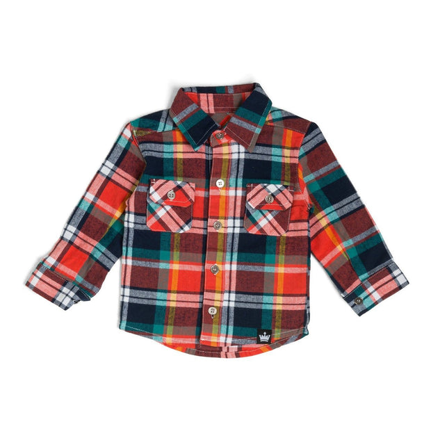 Coral & Teal Plaid Flannel Button Up Shirt