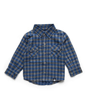 Navy & Gray Buffalo Check Flannel Button Up Shirt