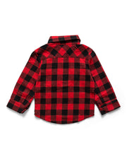 Red & Black Buffalo Check Flannel Button Up Shirt