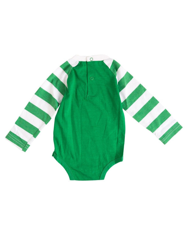 Green & White Stripe Long Sleeve Raglan Bodysuit