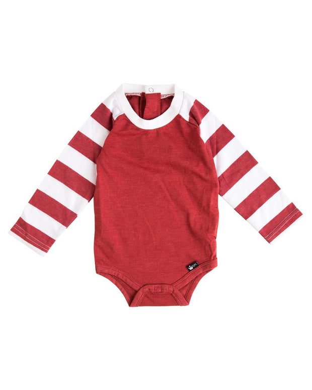 Red & White Stripe Long Sleeve Raglan Bodysuit