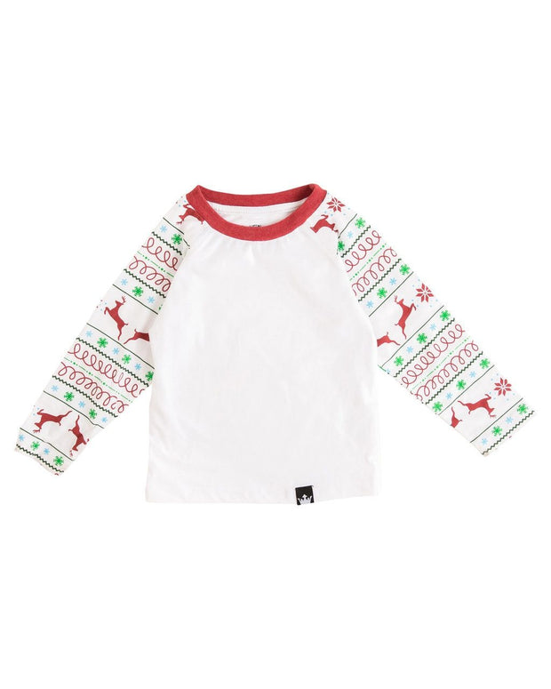 Red & Green Nordic Long Sleeve Raglan Shirt