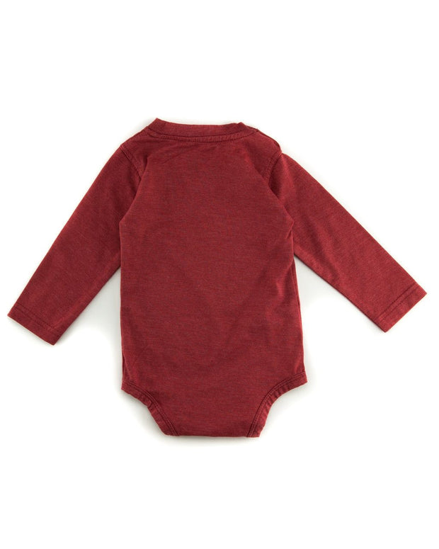 Red V-Neck Long Sleeve Bodysuit