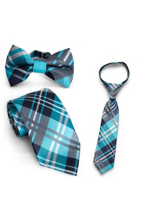 Lagoon & Black Plaid Tie