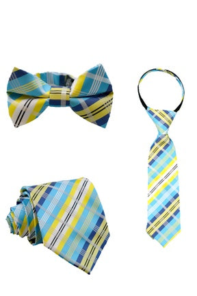 Lagoon and Lemon Plaid Tie