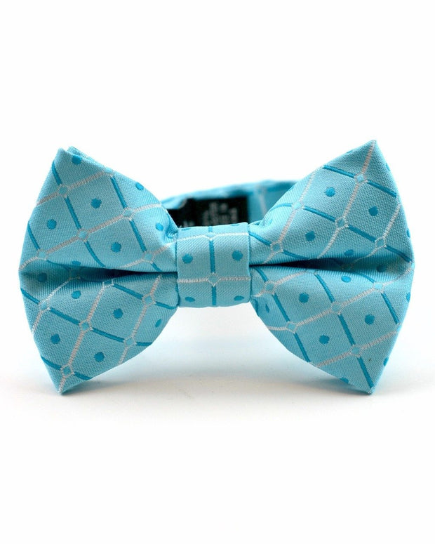Light Teal Squares Bow Tie (Boys and Men)