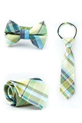 Lime and Navy Plaid Tie