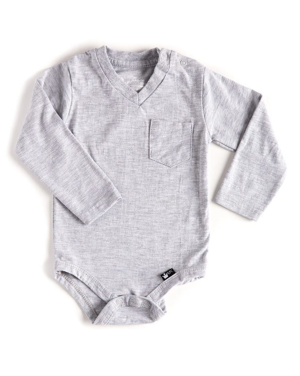 Long Sleeve Gray V-Neck Pocket Bodysuit