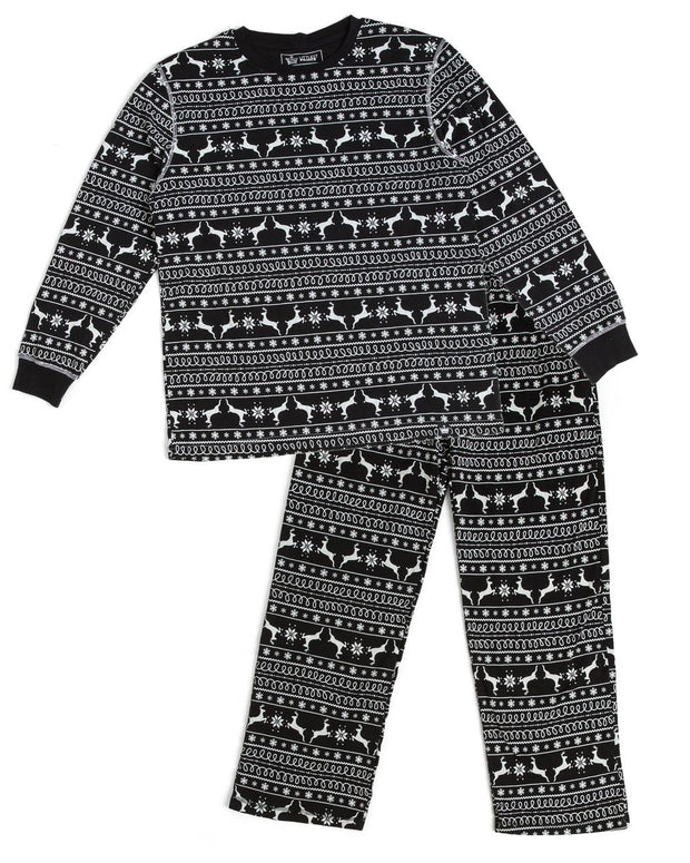 Black Nordic Men's Pajama Set (Style B)