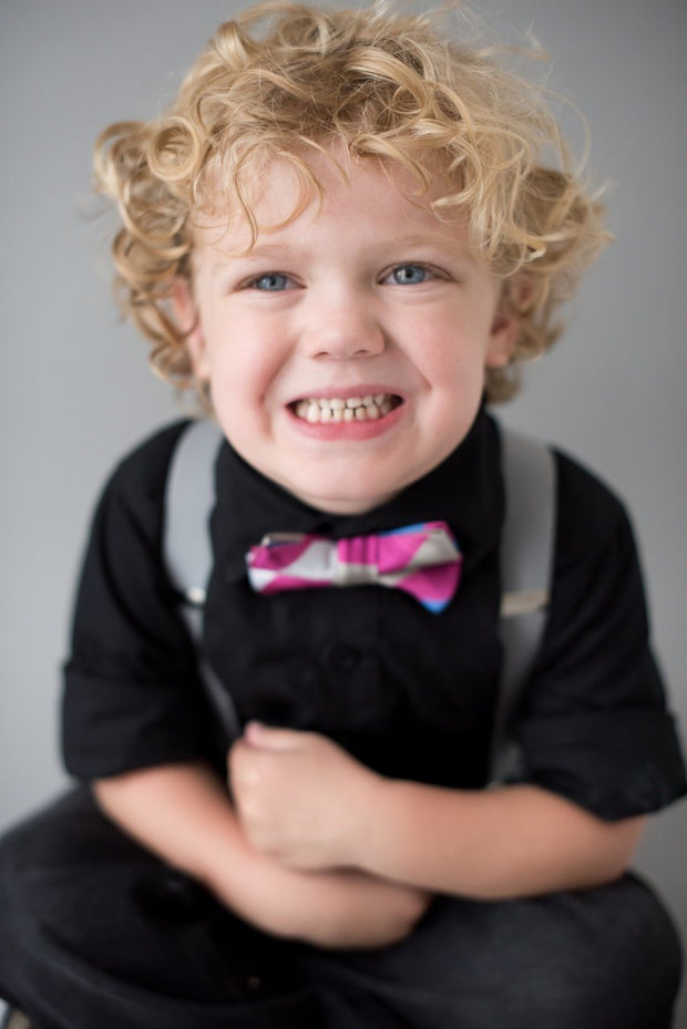 Magenta and Blue Check Bow Tie (Boys and Men)