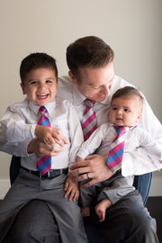 Magenta and Blue Check Tie