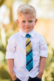 Banana and Blue Plaid Zipper Tie (Boys and Men)