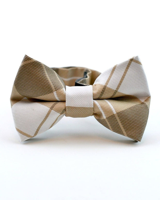 Mocha and Cream Plaid Bow Tie (Boys and Men)