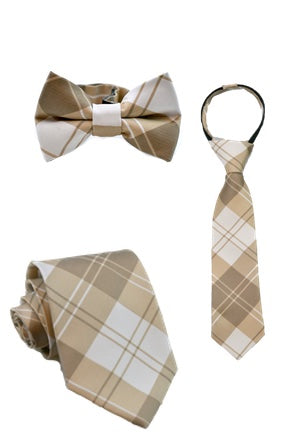 Mocha and Cream Plaid Tie