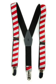 Red & White Stripe Suspenders