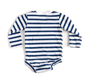Long Sleeve Navy & White Stripe V-Neck Pocket Bodysuit
